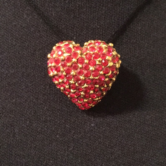 Antique costume jewelry, glittery heart brooch